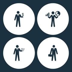 Vector Illustration Set Business Icons. Elements businessman icon