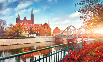 Wroclaw Poland view at Tumski island and Cathedral of St John
