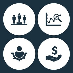 Vector Illustration Set Business Icons. Elements employee of the month winner, data analysis, men settings and Dollar with hand icon