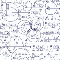 Math educational vector seamless pattern with handwritten figures formulas and equations