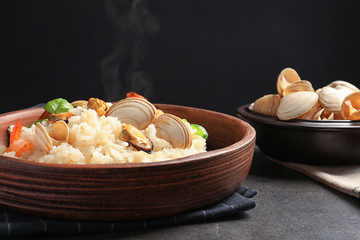 Dish with delicious seafood risotto on  table