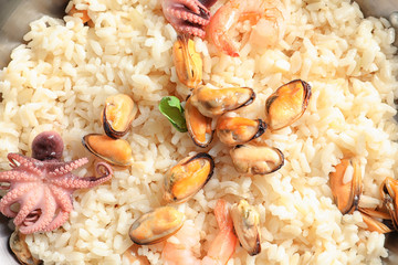 Delicious seafood risotto, closeup
