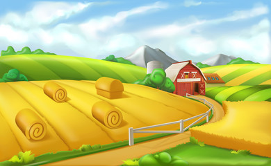 Farm. Landscape panorama, 3d vector illustration