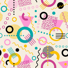 Retro seamless 1980s inspired memphis pattern background. vector illustration