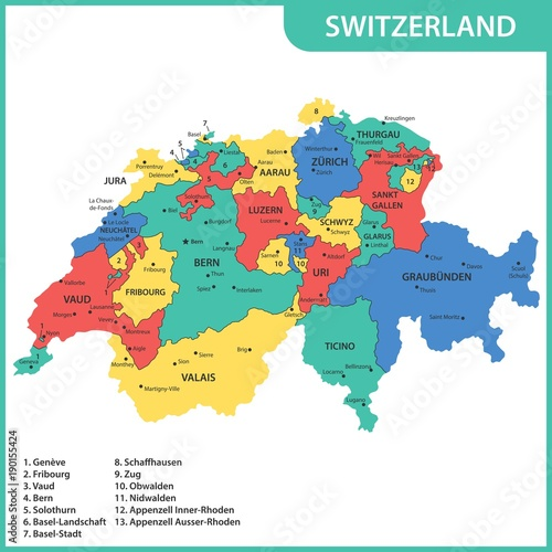 The detailed map of the Switzerland with regions or states ...