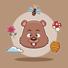 Beaver head cartoon icon vector illustration graphic design