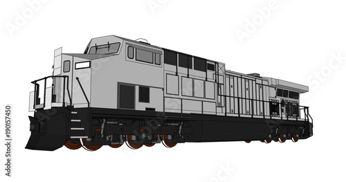 Modern diesel railway locomotive with great power and