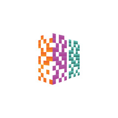Colorful pixel real estate building logo design concept vector