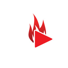 Burnt play button template vector