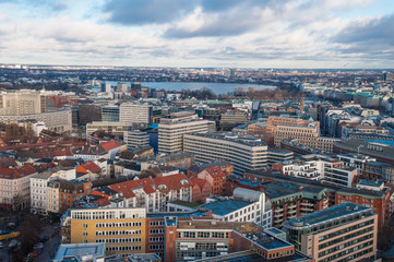 Aerial view over city of Hamburg in Germany