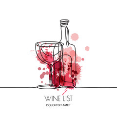Continuous line drawing. Vector linear illustration of red or rose wine bottle and glass on watercolor splashes background. Concept and design elements for wine list, menu, label.