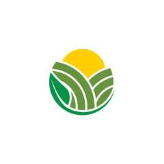 Abstract agriculture with field, sun and leaf logo design concept vector
