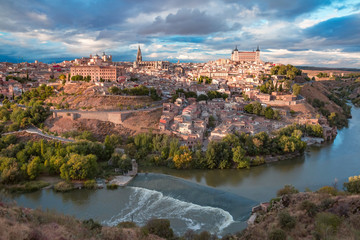Aerial view of Old city of Toledo and river Tajo in the overcast day, Castilla La Mancha, Spain