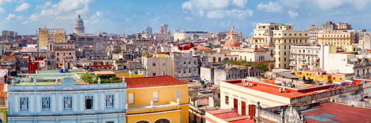 Poster Havana Panoramic view of Old Havana including the Capitol building
