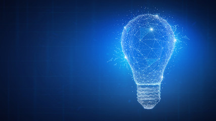 Polygon idea light bulb on blockchain technology network hud background. Global cryptocurrency blockchain business banner concept. Lamp symbolize inspiration, innovation, invention, effective thinking Fototapete