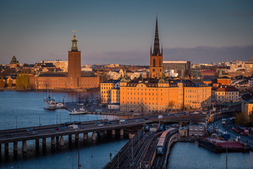Stockholm skyline panorama at sunrise, Sweden