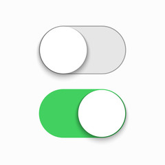 Vector modern green slider button on white background.