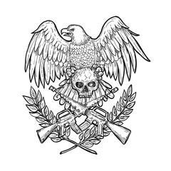 Eagle Skull Assault Rifle Drawing