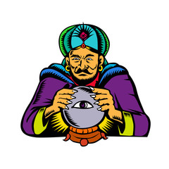 Fortune Teller With Crystal Ball Woodcut