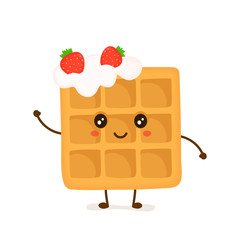 Cute smiling funny viennese waffle