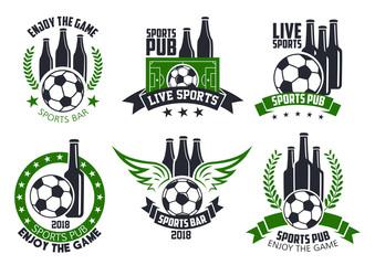 Soccer bar or football beer pub vector ball icons