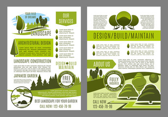 Vector brochure for green landscape eco design