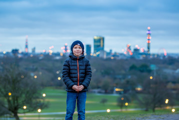Father and son at Primrose hill, London, UK