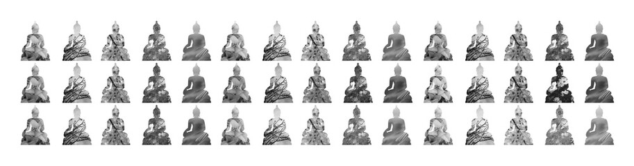 The group of graphic sitting Buddhas in religion with plant tree and flower photos in the bodies with the white background , isolated style. Black and white.