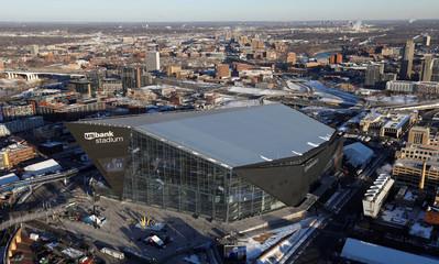 Aerial view of U.S. Bank Stadium in Minneapolis, Minnesota