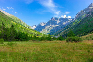 mountain gorge with a meadow in the morning on the green grass and flowers surrounded by mountain peaks in summer