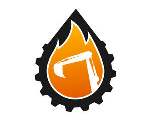 droplet gear excavator fire excavation machinery heavy image vector icon logo silhouette
