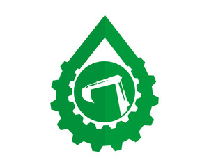 green droplet gear excavator excavation machinery heavy image vector icon logo silhouette