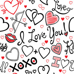Vector illustration of a seamless love/Valentine's Day repeating pattern. Pattern may be tiled seamlessly in all directions.