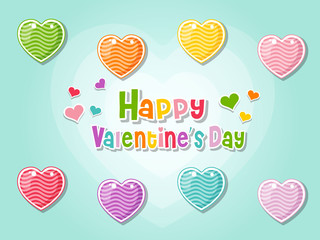 Happy Valentine's Day Love Symbol Hearts On Color Background. holiday and decoration element.