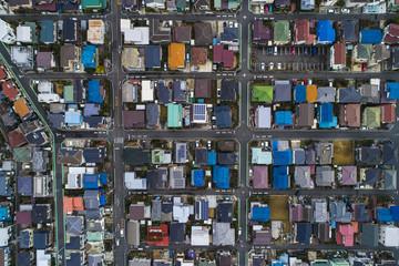 日本の住宅地,空撮