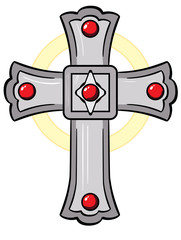 Catholic Cross inlaid with rubies.