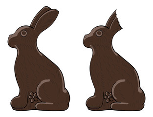Chocolate bunny, one with a bite out of its ear.