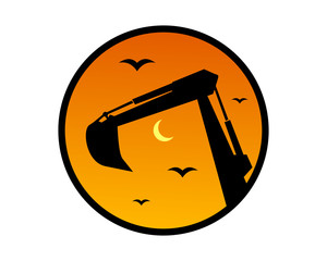 dusk excavator excavation heavy machinery builder image vector icon logo