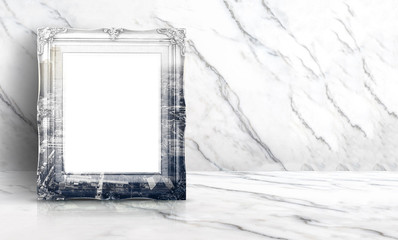 Blank double exposure city view on vintage frame at white clean marble wall and floor background,Minimal simple style interior backdrop.mock up space for adding your text or design in banner.