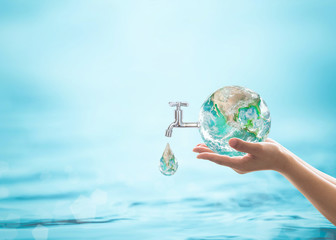 World water day, saving water quality campaign and environmental protection concept. Element of this image furnished by NASA Wall mural