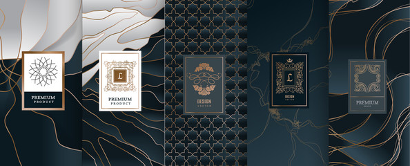 Collection of design elements,labels,icon,frames, for packaging,design of luxury products.Made with golden foil.Isolated on black and marble background. vector illustration