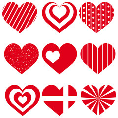 Set of red different hearts for Valentine's day. Vector