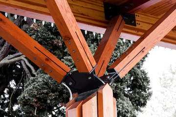 Wooden roof supports at angles