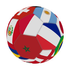 Soccer ball with the color of the flags of the countries participating in the world on football, in the middle Poland, Morocco and France, 3D rendering.