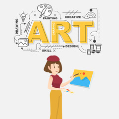 Creative artist with art icons on white background