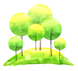 Watercolor painting. Group of green, yellow trees. Summer, autumn landscape. art tree. Green hill, field. On white isolated background.