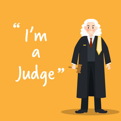 Judge character on yellow background flat design