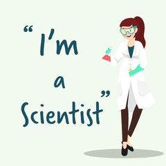 Scientist character with science experiment flat design