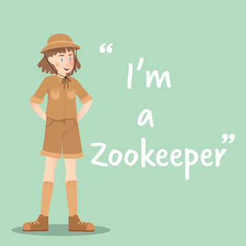 Zookeeper character on green background flat design