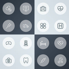 Drug icons line style set with drug, plaster, injection and other drug 